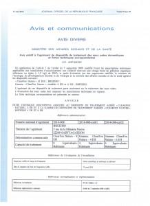 Parution Journal Officiel République Française